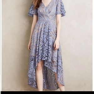 MOULINETTE SOEURS Blue Lace High Low Dress 0